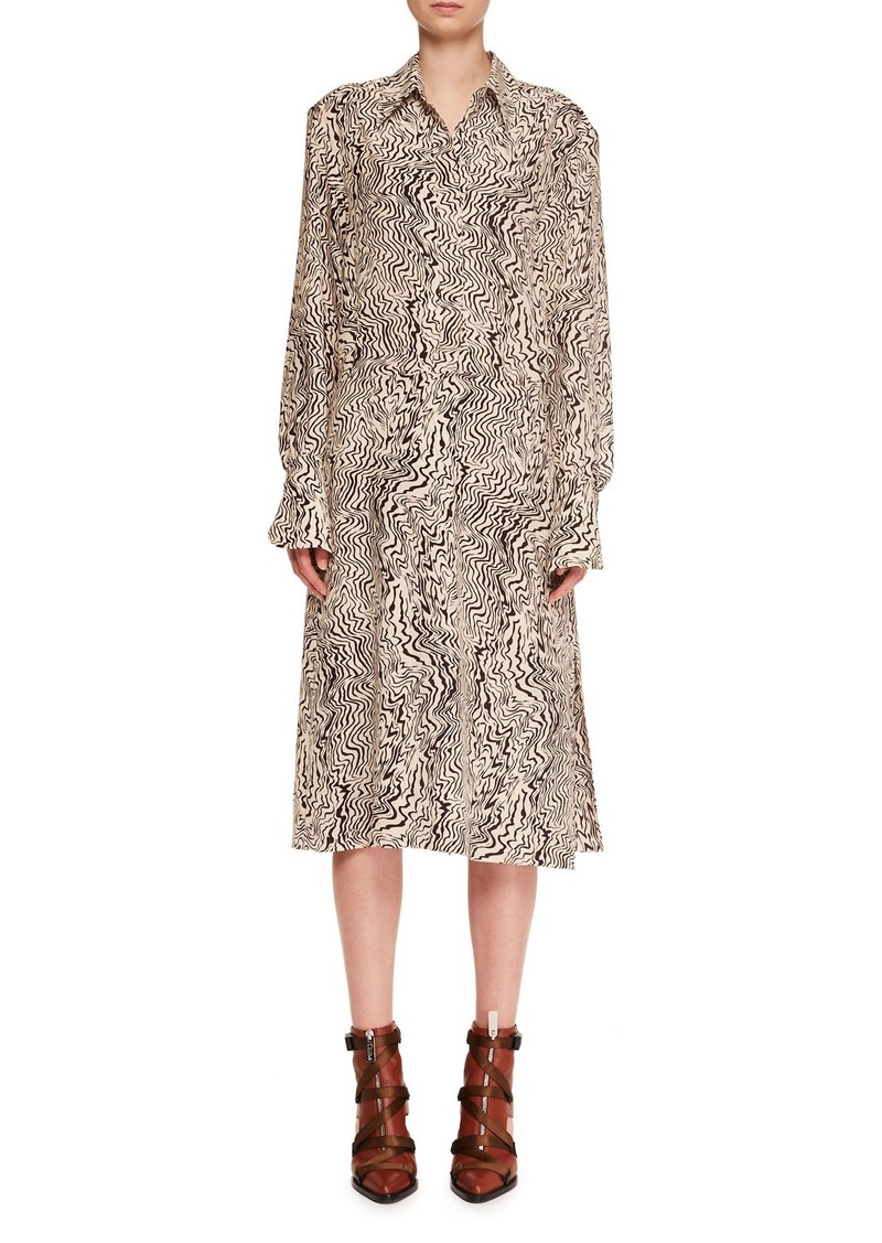 Chloé Chloe Long-Sleeve Button-Down Wave-Print Silk Crepe Shirtdress