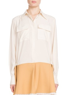 Chloé Chloe Long-Sleeve Button-Front Bicolor Lace-Hem Crepe de Chine Dress