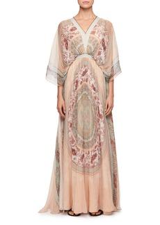 Chloé Mandala-Print V-Neck Kaftan Evening Gown