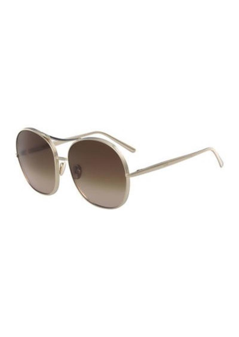 4f982223d02 Chloé Nola Navigator Round Aviator Sunglasses
