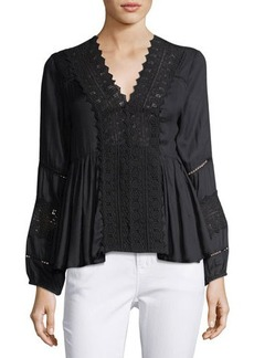 Chloé Chloe Oliver 3/4-Sleeve Lace-Trim Blouse