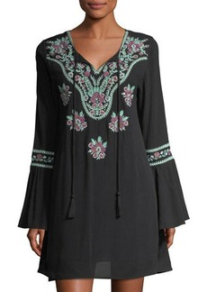 Chloé Chloe Oliver Bell-Sleeve Embroidered Dress