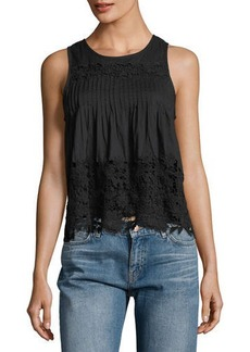 Chloé Chloe Oliver Pintucked Crochet-Lace Tank