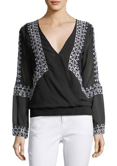 Chloé Chloe Oliver Smocked-Waist Embroidered Top