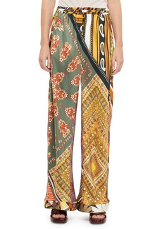 Chloé Chloe Patch-Print Silk Wide-Leg Pants