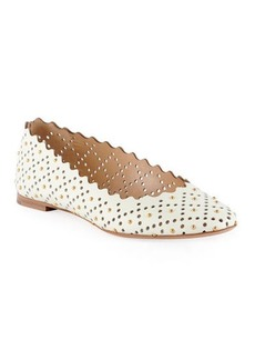 Chloé Chloe Lauren Perforated Leather Ballet Flat with Studs