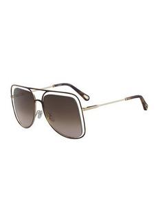 Chloé Chloe Poppy Cutout Metal Aviator Sunglasses