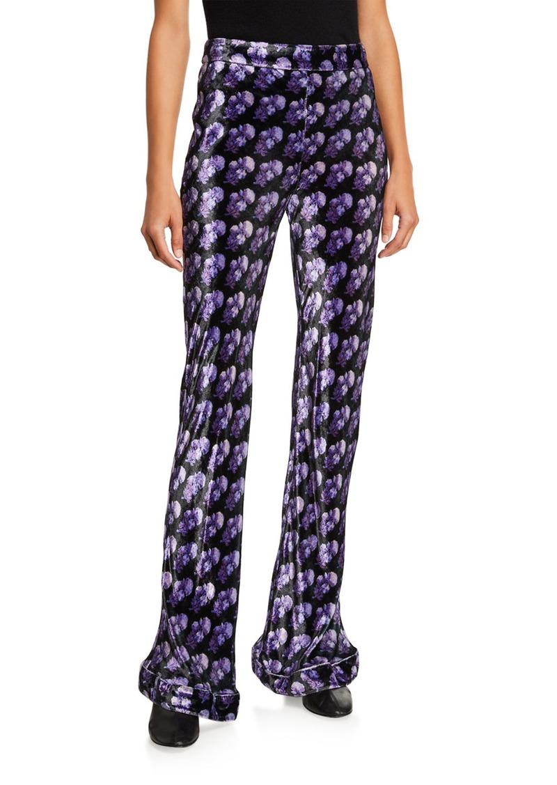 Chloé Chloe Printed Velvet Flare-Leg Pants