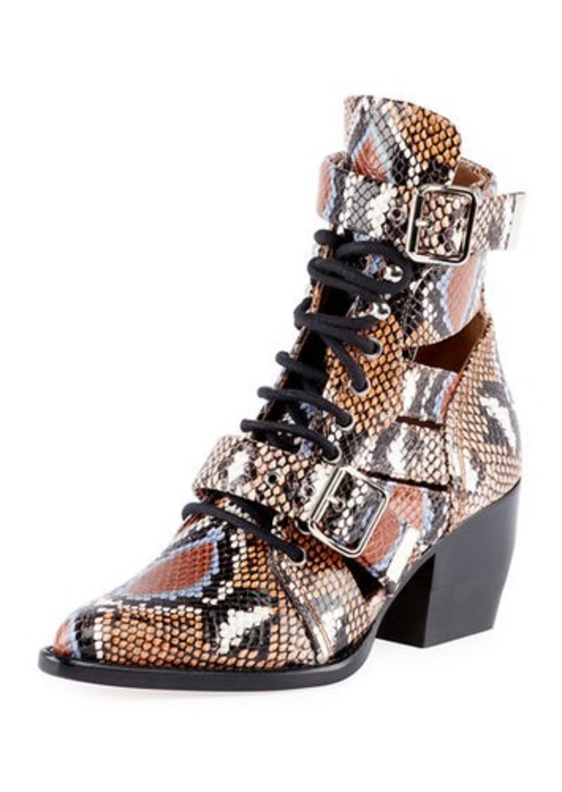 Chloé Chloe Python-Embossed Leather Combat Boots