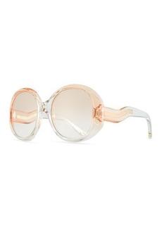 94e8ab1f91cd Chloé Chloe Qleo Semi-Transparent Oval Sunglasses