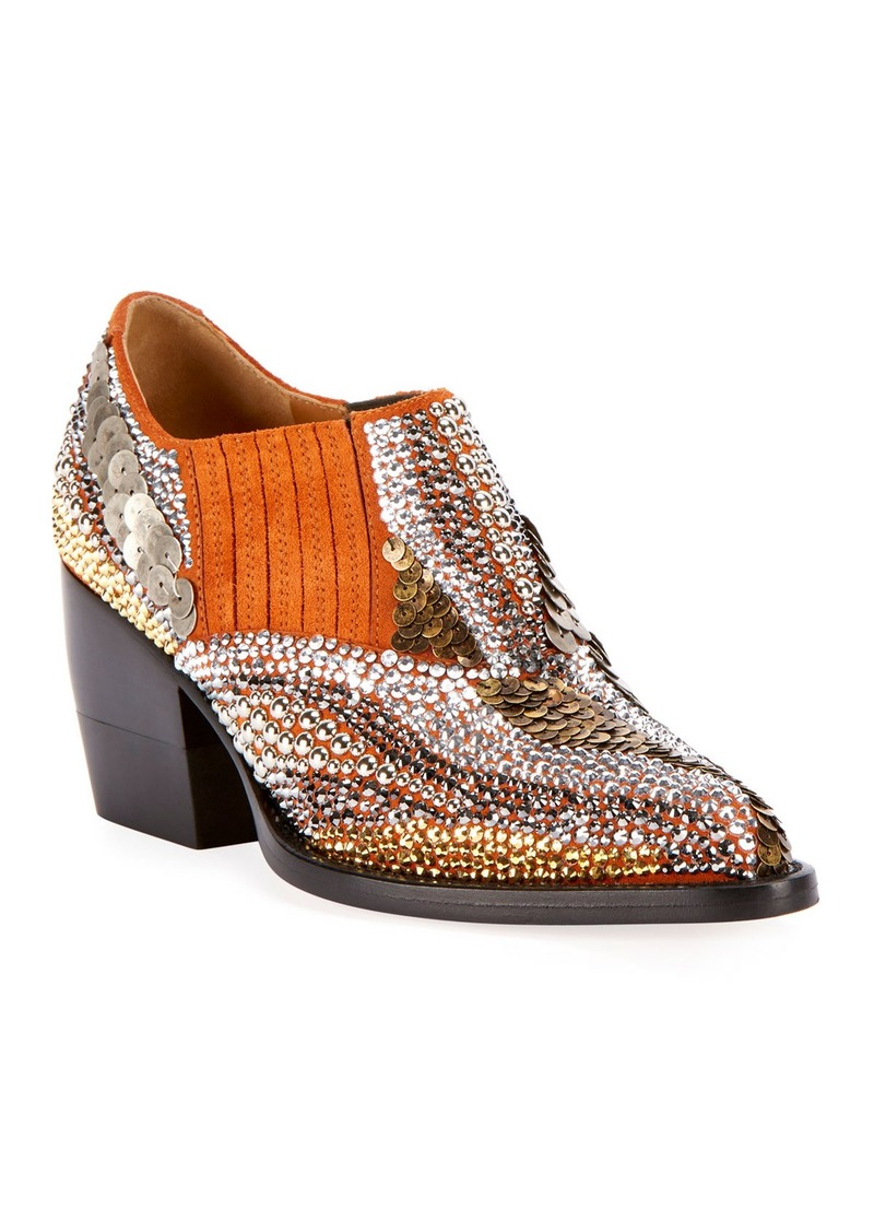 Chloé Chloe Rylee 90MM Bootie with Strass Detail