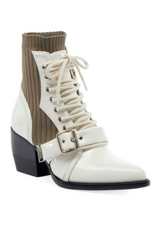 Chloé Chloe Rylee Leather and Stretch Booties