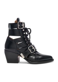 Chloe Rylee Leather Lace Up Buckle Boots