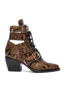 Chloe Rylee Python Print Leather Lace Up Buckle Boots