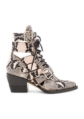 Chloé Chloe Rylee Python Print Leather Lace Up Buckle Boots