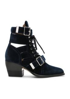Chloé Chloe Rylee Velvet Lace Up Buckle Boots