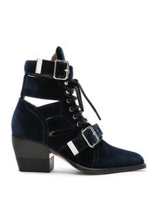 Chloé Chloe Rylee Velvet Lace Up Buckle Boots