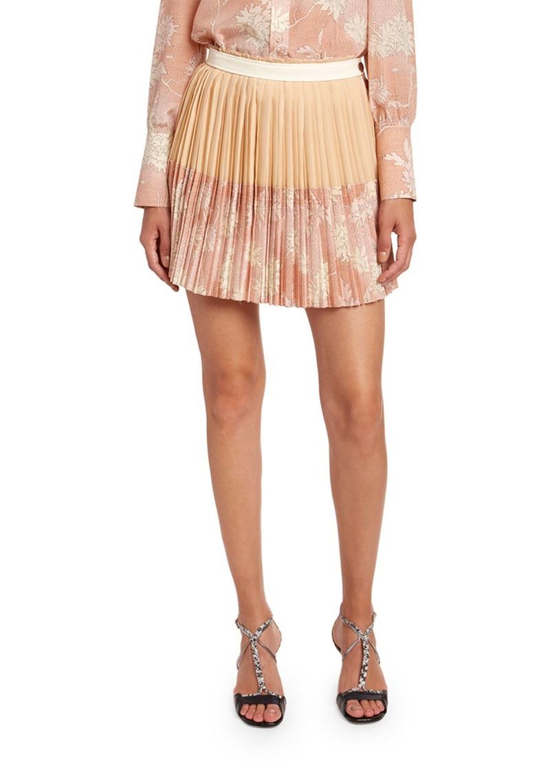 Chloé Chloe Scale Print Crepe de Chine Skirt