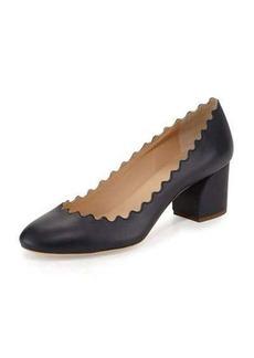 Chloé Chloe Scalloped Leather Block-Heel Pump
