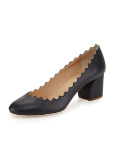 Chloé Chloe Scalloped Leather Block-Heel Pump
