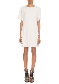 Chloé Chloe Scalloped-Trim Short-Sleeve Crewneck Crepe Shift Dress