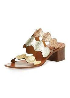 Chloé Chloe Scalloped Triple-Strap Chunky-Heel Sandal