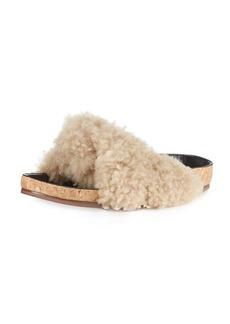 Chloé Chloe Shearling Fur Flat Slide Sandal