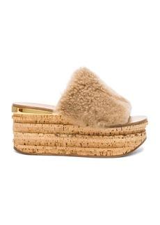 Chloe Sheep Fur Camille Wedge Sandals
