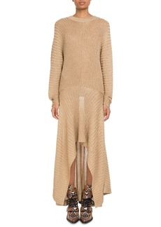 Chloé Chloe Shimmer Ribbed Handkerchief Dress