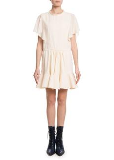 Chloé Chloe Flutter-Sleeve Drawstring-Waist Light-Cady Short Dress