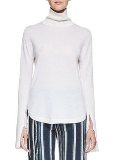 Chloé Chloe Silk Turtleneck Top w/Slit Bell Sleeves