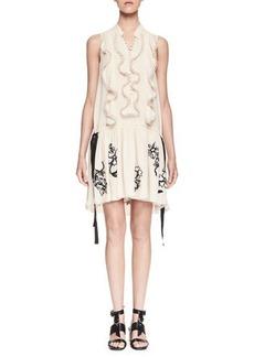 Chloé Chloe Sleeveless Ruffled Embroidered-Skirt Dress