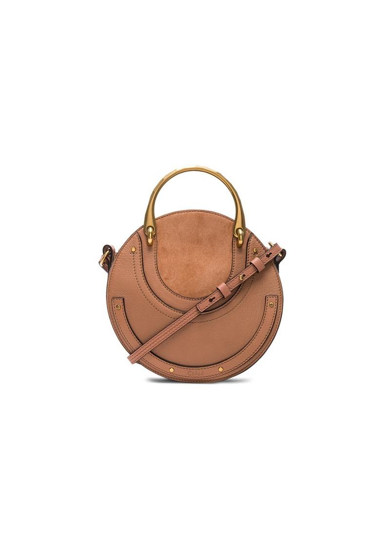 Chloé Chloe Small Pixie Shiny Goatskin Calfskin Suede Double Handle Bag