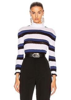 Chloé Chloe Striped Ruffle Sweater