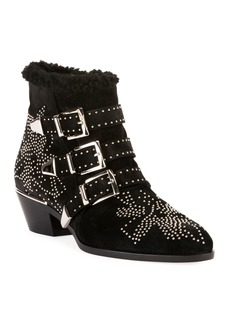 Chloé Chloe Susan Short Studded Shearling-Lined Boots