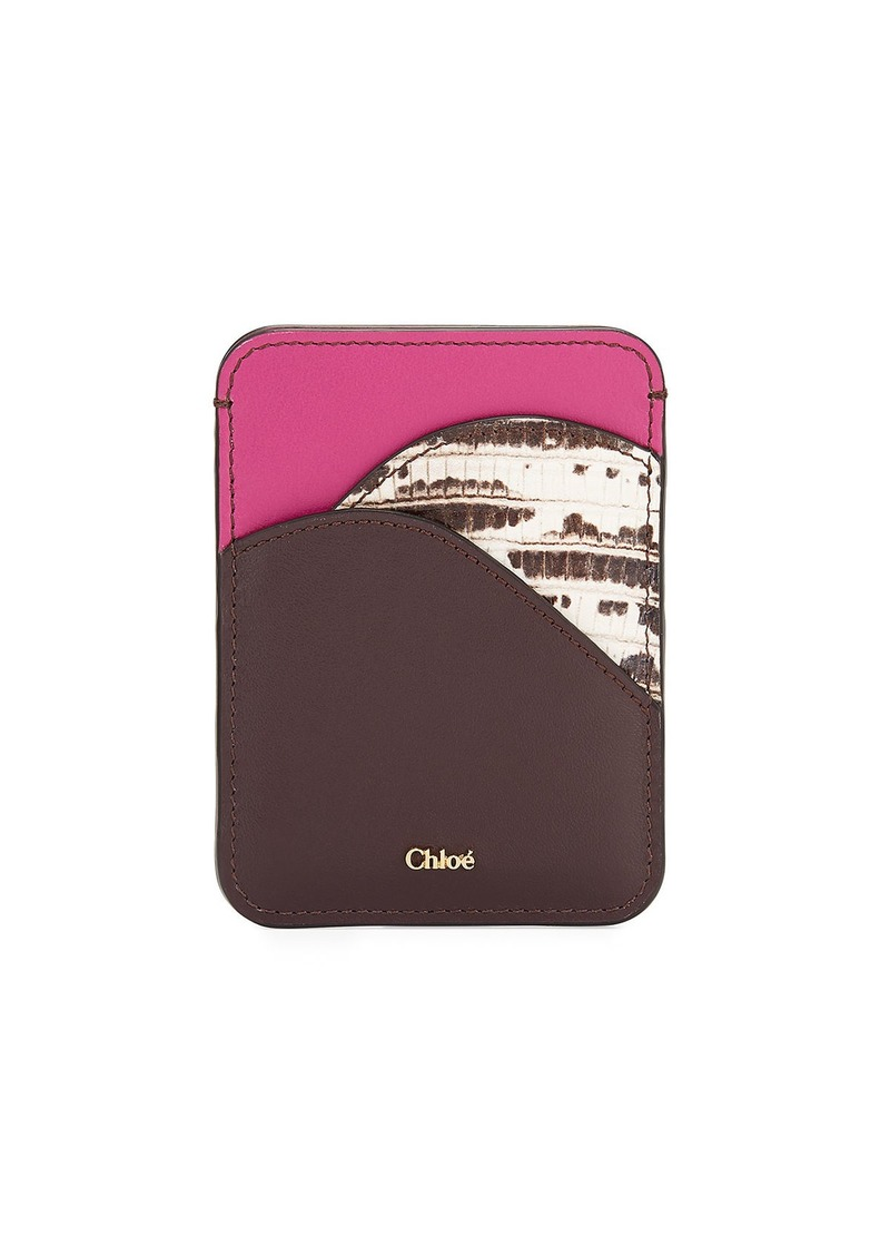 Chloé Chloe Walden Smooth and Lizard-Embossed Card Holder