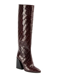 Chloé Chloe Wave Croc-Embossed Tall Boots