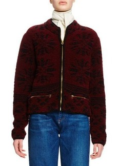 Chloé Chloe Zip-Front Wool Jacquard Sweater