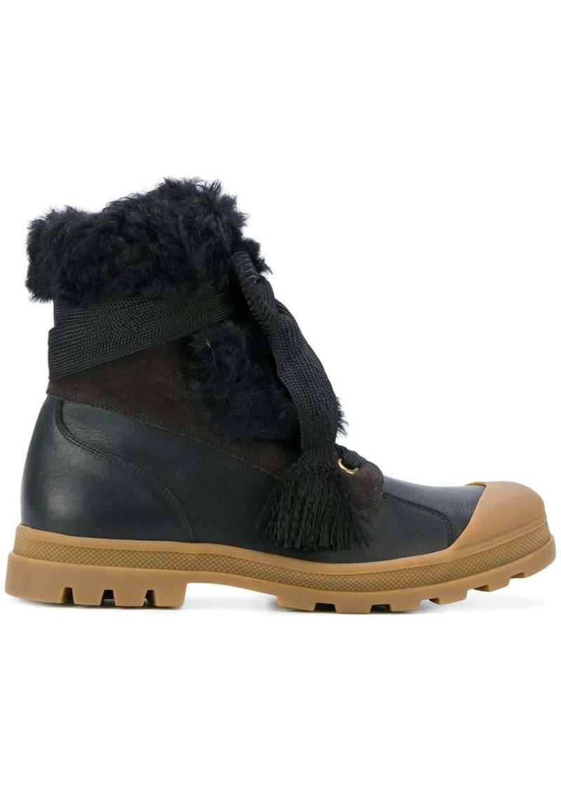 Chloé chunky sole shearling boots