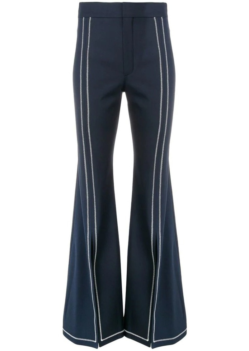 Chloé contrast stitch flare trousers
