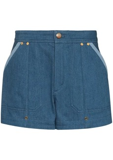 Chloé contrast-trim denim shorts