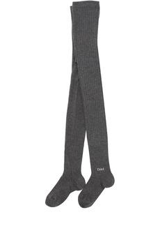 Chloé Cotton Blend Rib Knit Tights