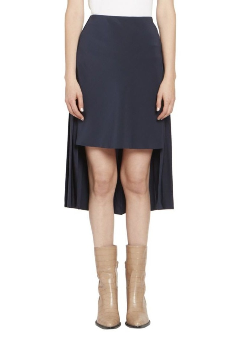Chloé Crepe de Chine High-Low Pleat Back Skirt