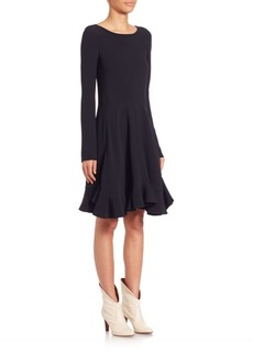 Chloé Crepe Sable Ruffle Dress
