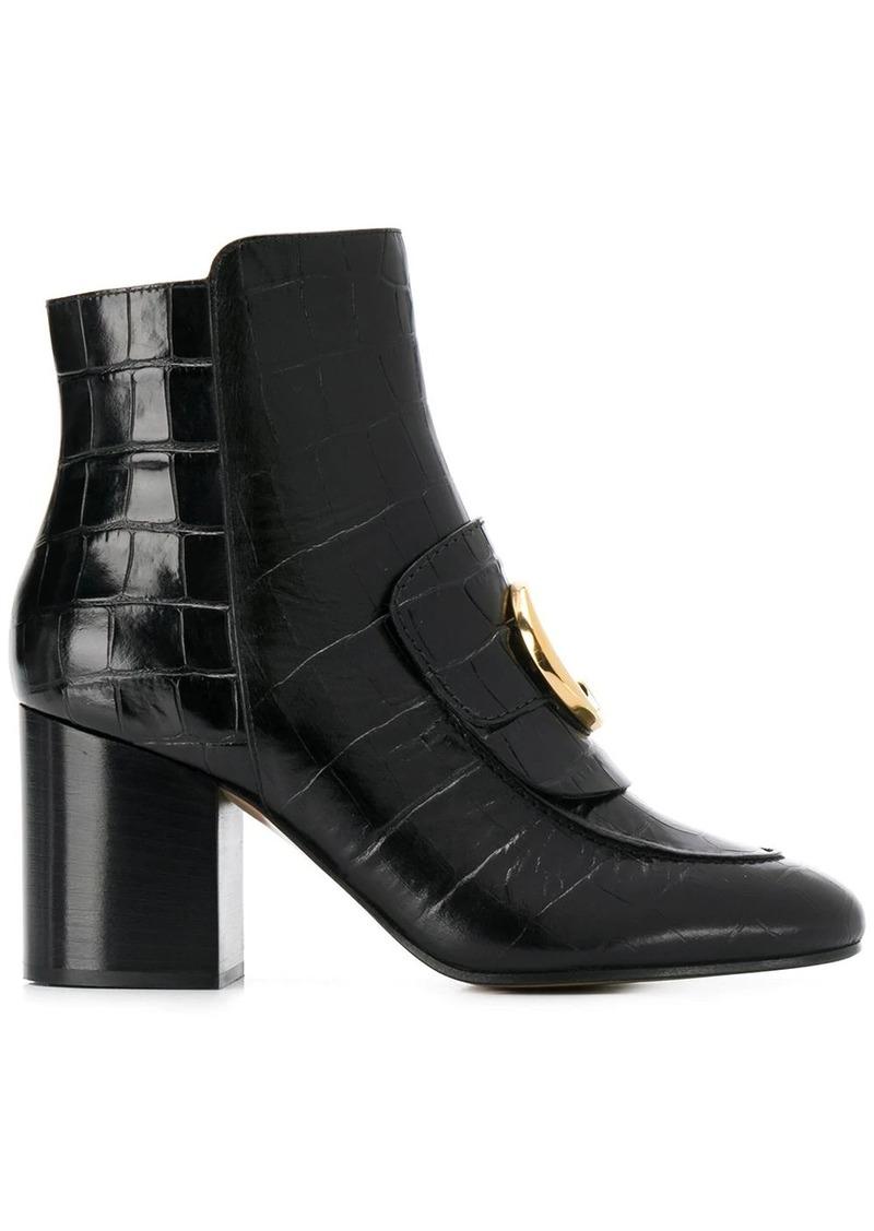Chloé crocodile effect 80mm ankle boots