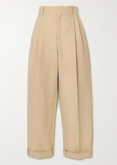 Chloé Cropped Linen And Cotton-blend Tapered Pants