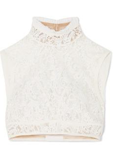 Chloé Cropped Silk-trimmed Cotton-blend Lace Top