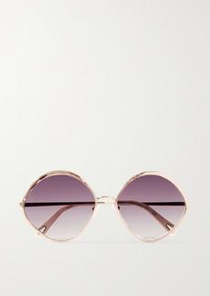 Chloé Dani Round-frame Rose Gold-tone And Acetate Sunglasses