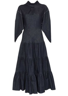 Chloé denim tiered midi dress