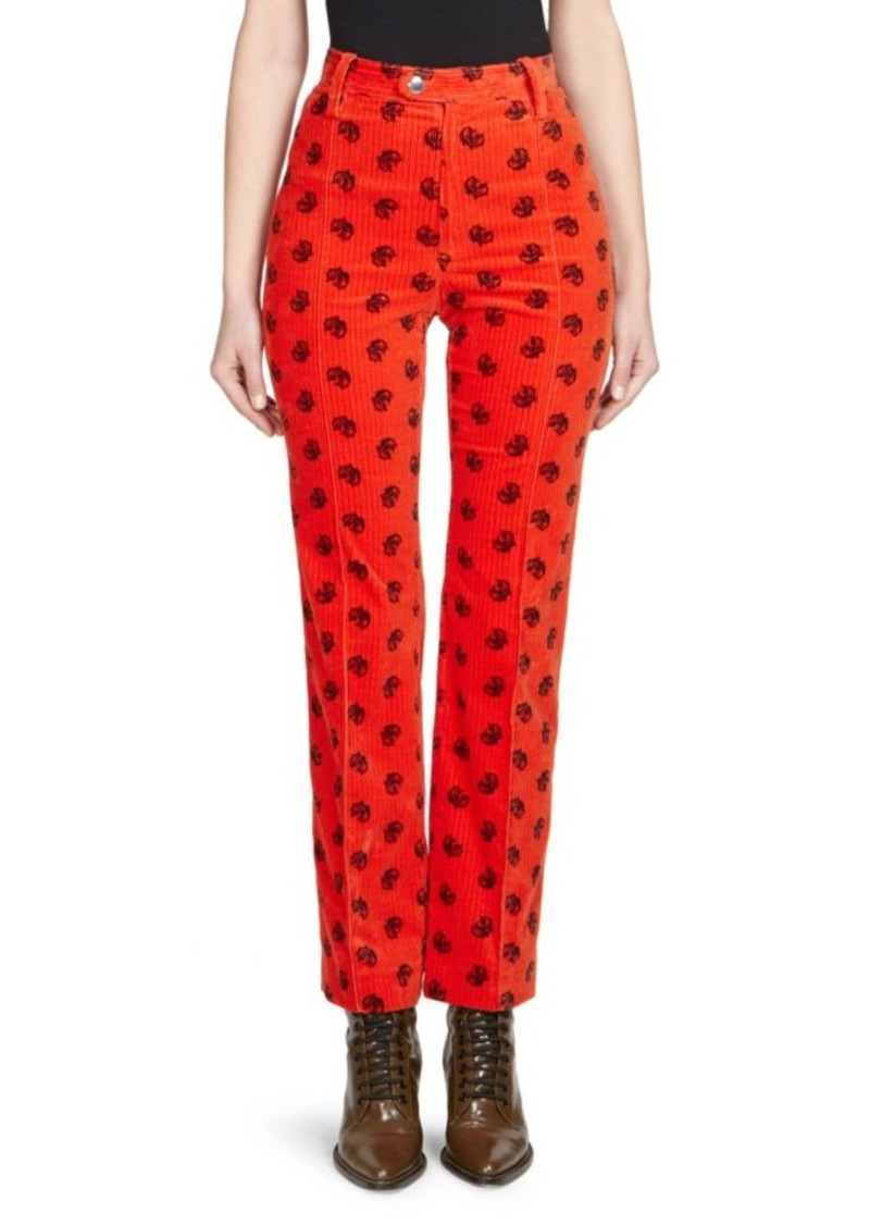 Chloé Embroidered Corduroy Trousers